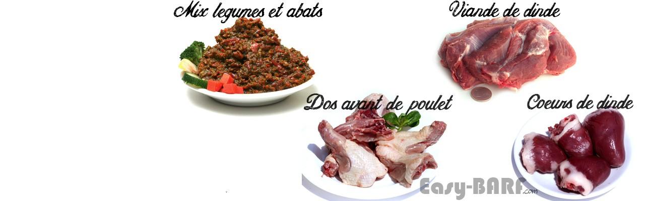 BARF pour chiens : Poulet, abats, légumes pour alimentation crue.